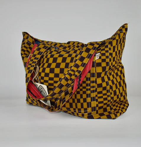 Hamaka Tote Mustard check and red black stripe