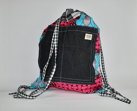 Hamaka Back Pack pink weave with black denim pocket