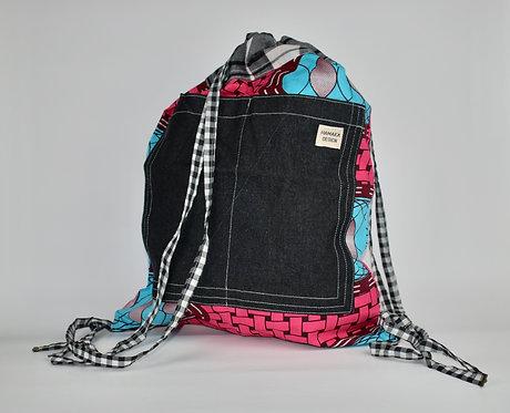 Hamaka Back Pack pink weave with black denim pocket