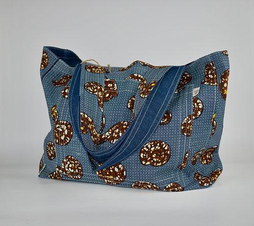Hamaka Tote blue batik and blue denim