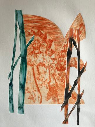 Sukru Ma Dry point print