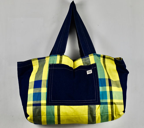 Hamaka Bigi Tote Blue denim and yellow check