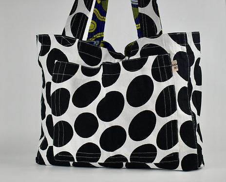 Hamaka Tote Black and white giant polka dot