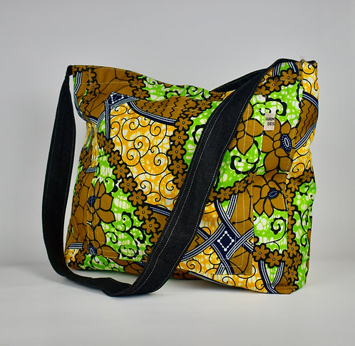 Hamaka x-body Mustard flower batik-black denim