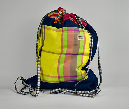 Hamaka Back Pack Blue denim with yellow check pocket