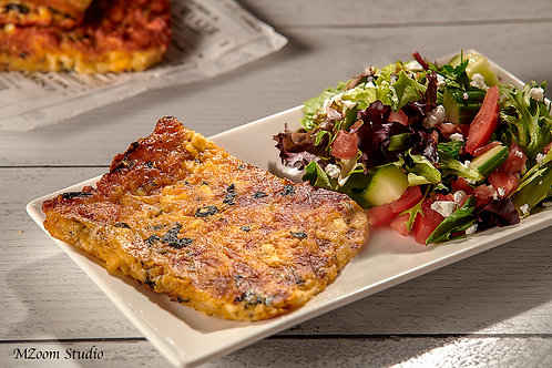 Flourless quiche and salad