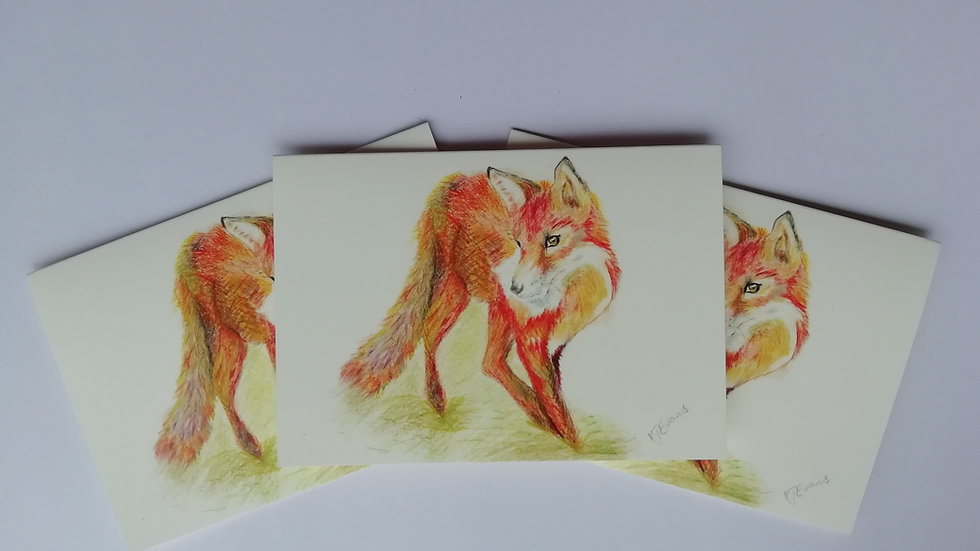 Standing fox notelet card - pack of 5