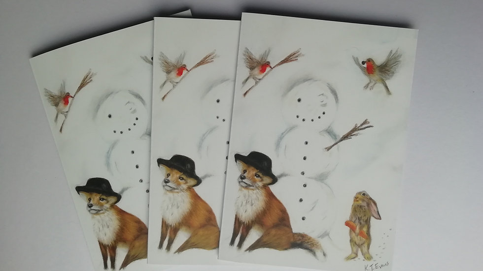 Christmas snowman and donkey cards - pack of 8