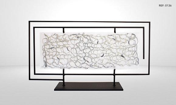 METAL FRAMED GLASS DESIGN ART PIECE