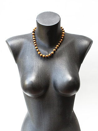 NIGERIAN BROWN GLASS PEARL NECKLACE