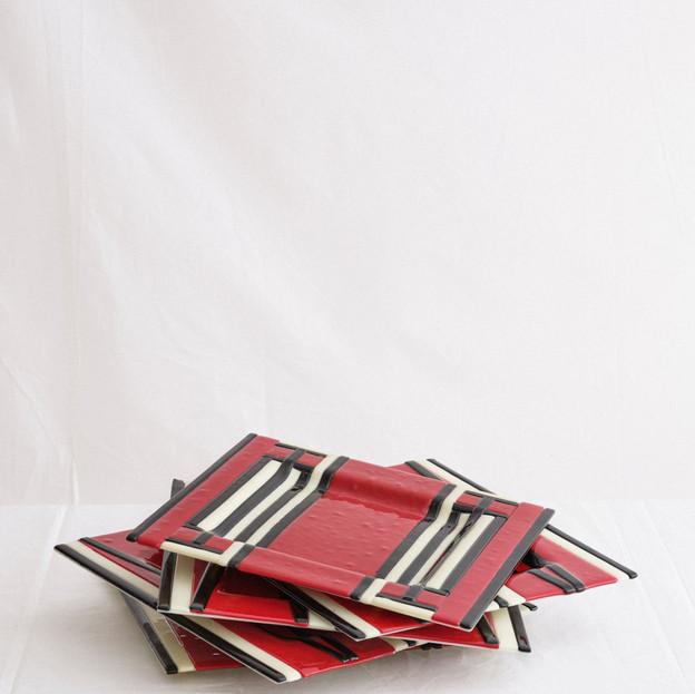Red, white, black coffee plates