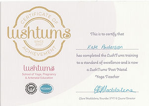 Kate Anderson Lushtums post natal teaching certificate