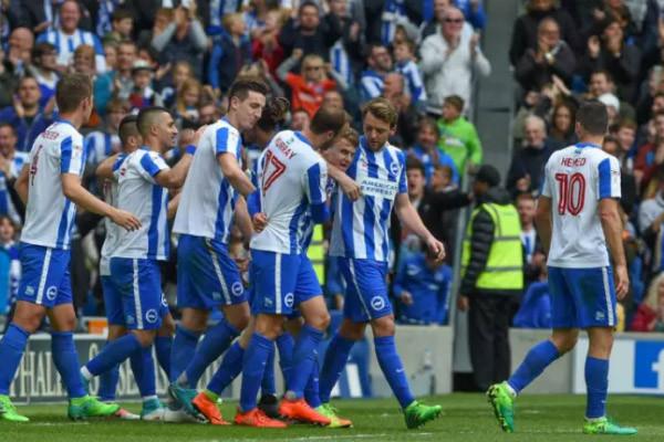 Brighton and Hove Albion celebrate goal