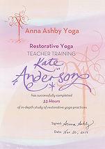 Kate Anderson restorative yoga teacher training certificate