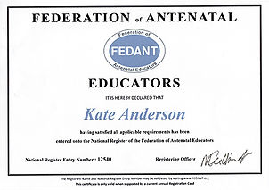 Kate Anderson federation of antenatal certificate