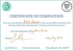 Be-Yoga certificate of completion