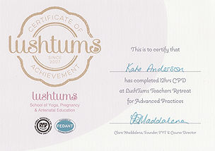 Kate Anderson lushtums advanced practitioner certificate
