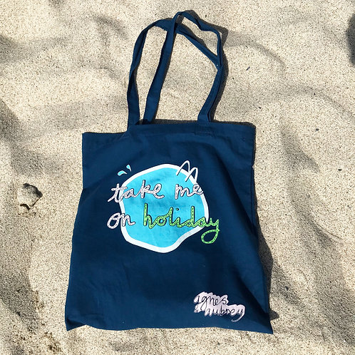 Take Me On Holiday: Tote bag (navy blue)