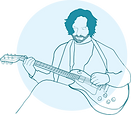 An illustration of David Schwietzer playing guitar
