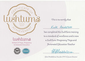 Kate Anderson lushtums pregnancy yoga training certificate