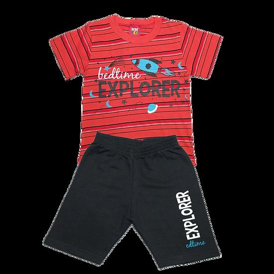 Conjunto Masculino Explorer Vermelho listras