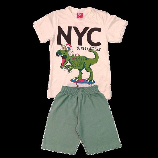 Conjunto Masculino Dino Skate- Bege/Verde