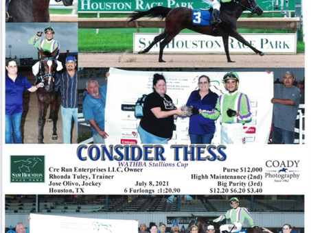 Consider Thess Takes the first 2021 Wathba Stallions Cup Race in Texas