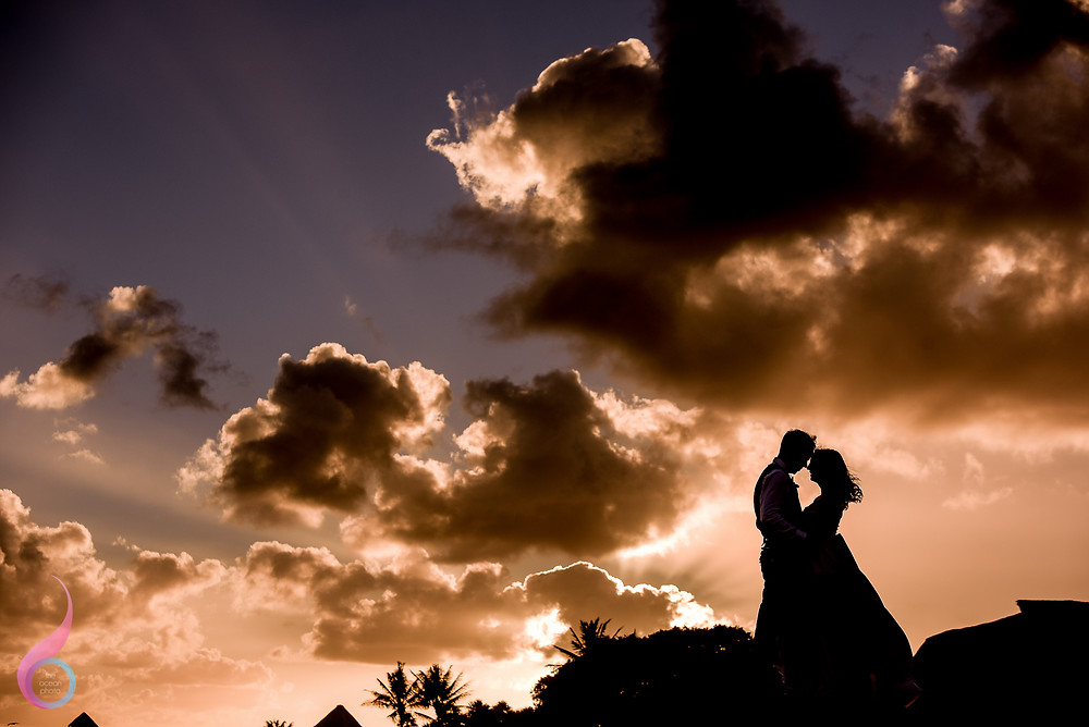 Occidental at Xcaret Destination Wedding Photography Sunset Caribean