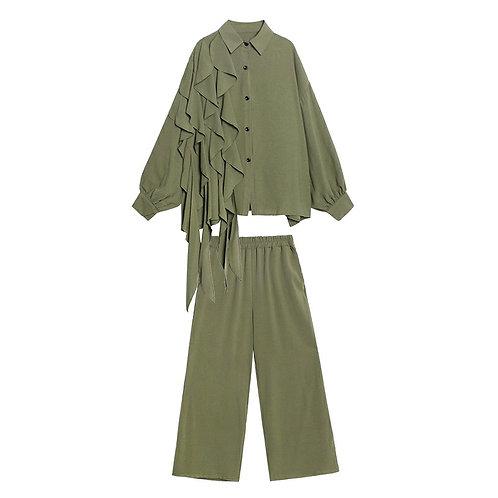 Rakel Top + Pants Set (Army Green)