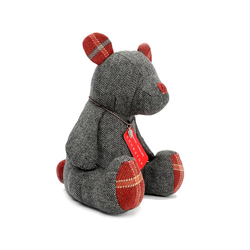 Teddy Bear Doorstop Herringbone