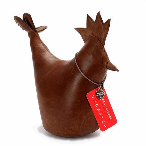 Premium Leather Cockerel Doorstop