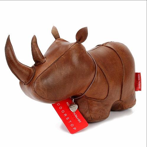 Premium Leather Rhino Doorstop