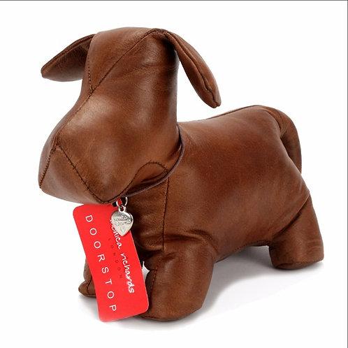Premium Leather Little Dog Doorstop