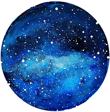 Watercolour blue moon and stars