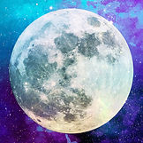 Watercolour moon with purple background