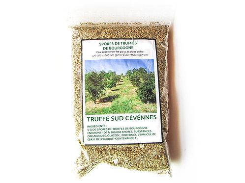 Spores de truffes de bourgogne Tuber Uncinatum sachet 1 litre vue de face.