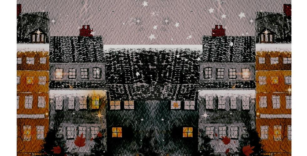 Juleby (natt)  40×50 utvendig mål innrammet med paspatur