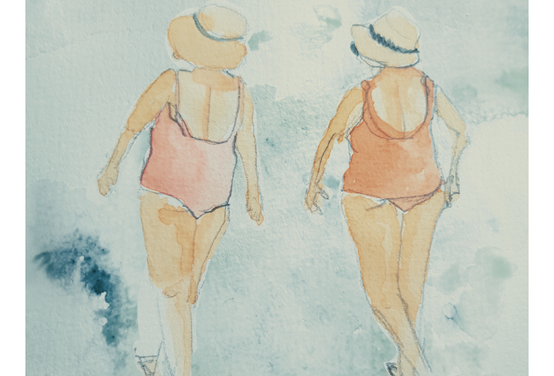 Sommerminner - to damer 50×70 kun glicee print på kunstpapir