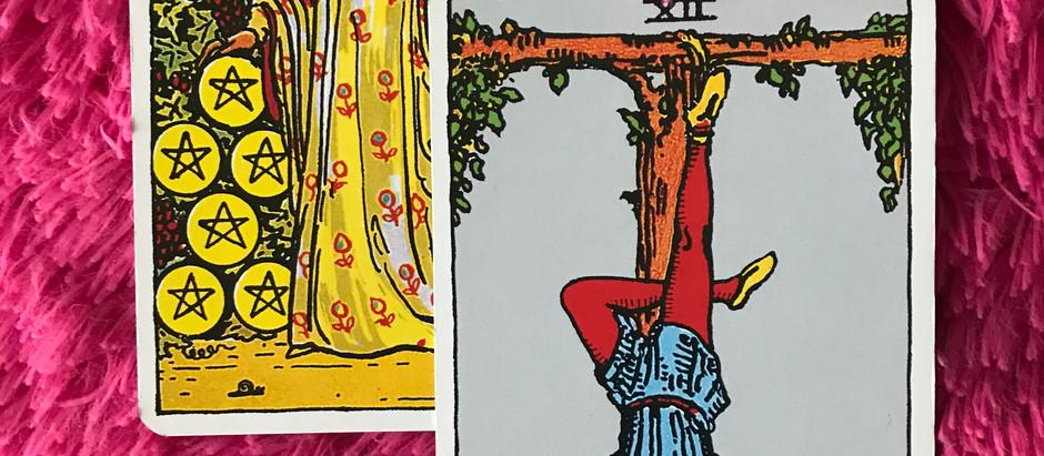 nine of pentacles/hanged man