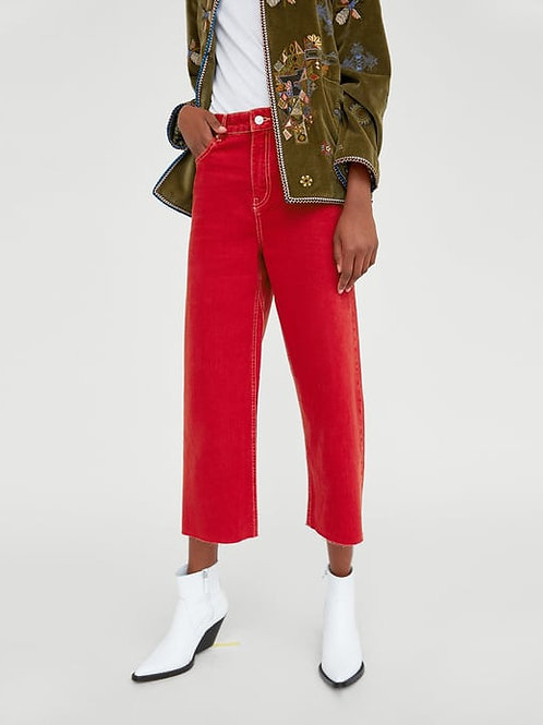 HIGH WAIST CULOTTE-JEANS IN VERMONT RED