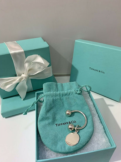 Tiffany and Co. Sterling Silver Round Tag Key Ring