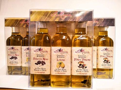 Confezione tris di condimenti Tartufo, limone, fungo porcino 3 x 100 ml