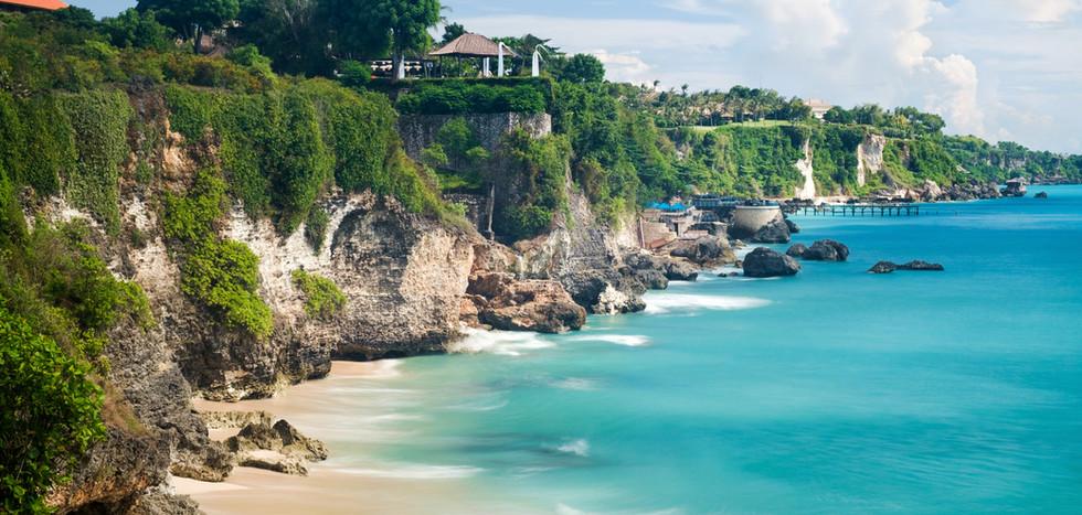 Scenic sea landscape, Bali. High cliff o