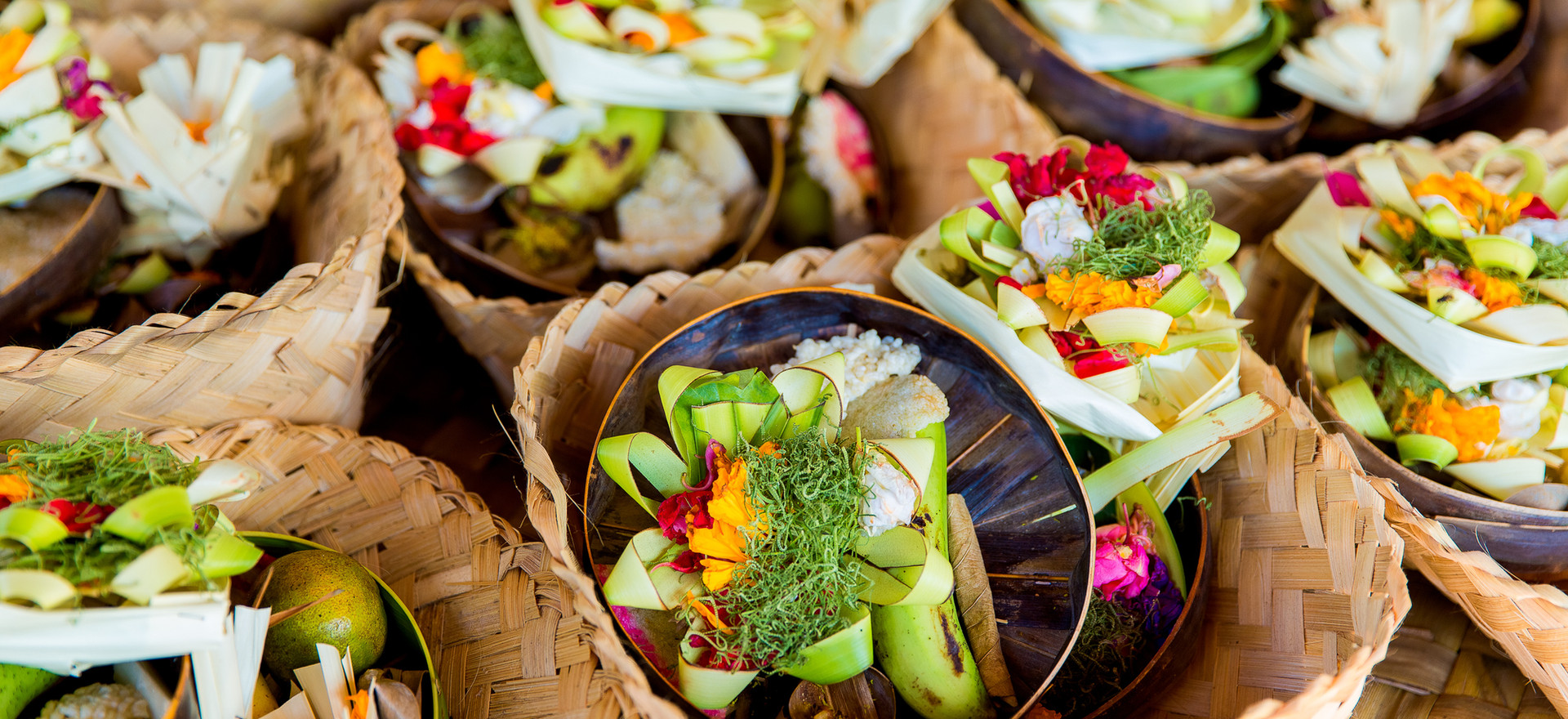 Traditional balinese offerings to gods i
