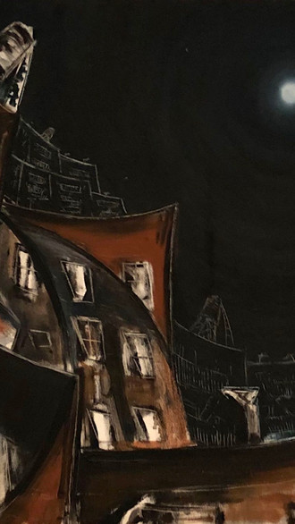 """20"""" x 20"""" 1998 Oils on canvas  Cityscapes"""