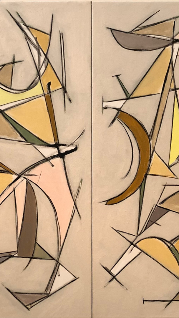 """Diptych. 34"""" x 72"""" each canvas 34"""" x 34"""" 2021 Oils on canvas"""