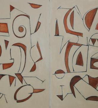 """Diptych: each canvas 36"""" x 48"""" 2005 Oils on canvas"""