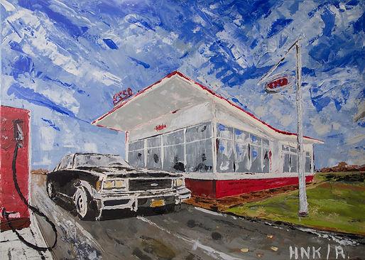 Impala 1977. Canvas 60 x 40 cm. Acryl met paletmes.