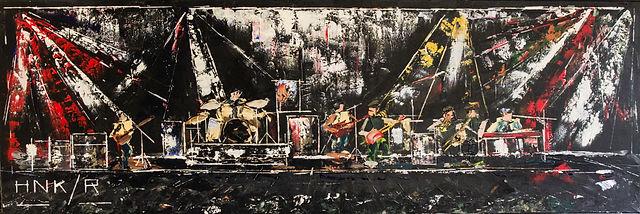 The band played on. 120 x 40 cm. Acryl, paletmes. Niet beschikbaar, verhuisd naar Amsterdam