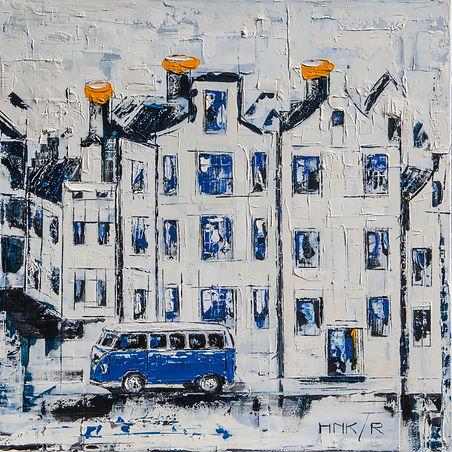 KLM huisjes III. Acryl op canvas 90 x 90 cm. Niet meer beschikbaar.   Verhuisd naar Amsterdam